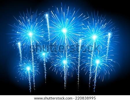 Blue fireworks - stock vector