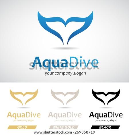 Blue Fish Tail Logo Icon Vector Illustration - stock vector