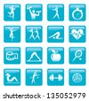 Blue Fitness  icons buttons. Set of fitness icons buttons. Vector illustration. - stock vector