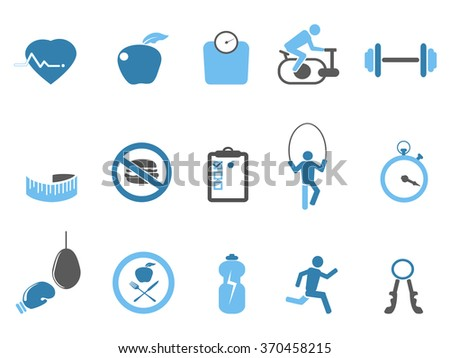 blue fitness icons set - stock vector