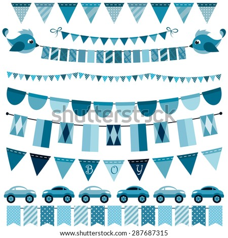 Blue flags, bunting and garland set for boys - stock vector