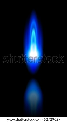 blue flame of a burning natural gas and reflection on black background - vector EPS10 - stock vector