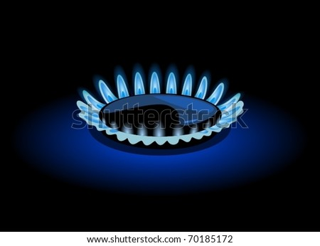 Blue flame of gas, vector illustration - stock vector