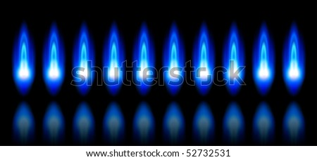 blue flames of a burning natural gas and reflection on black background - vector EPS10 - stock vector