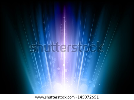 blue flares on the dark background - stock vector