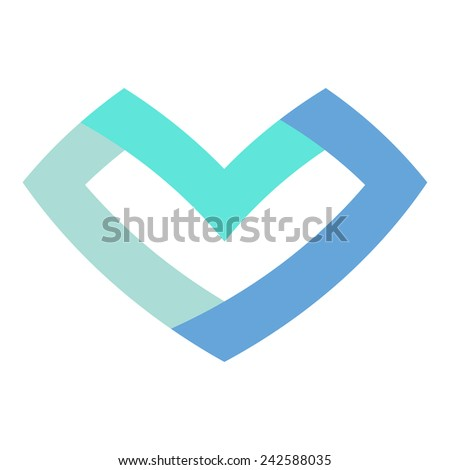 Blue flat heart isolated on white background - stock vector