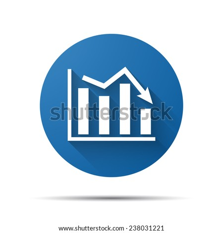 blue flat icon of graph going down - stock vector