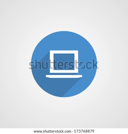 blue flat laptop icon - stock vector