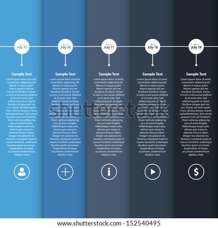 Blue Flat Timeline Template / EPS10 Vector Illustration / - stock vector