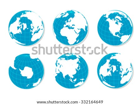 Blue Flat World Political Globes Over White Background