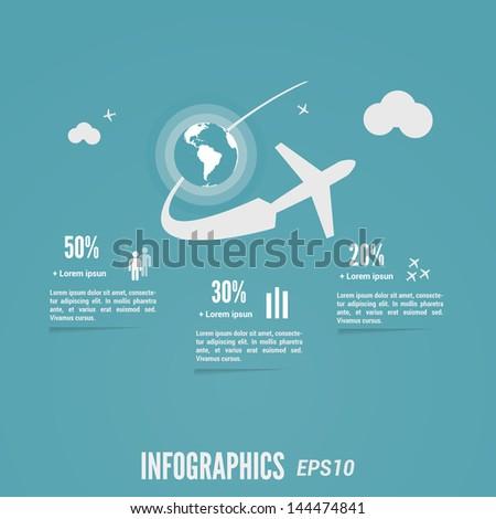 Blue flight info-graphic. Vector eps 10. - stock vector