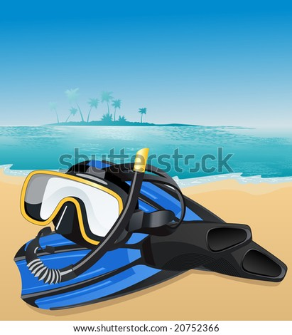 Blue flippers and swimming mask, vector illustration, EPS file included