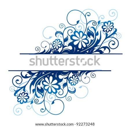 Blue floral borders with flowers and blossoms. Jpeg version also available in gallery - stock vector