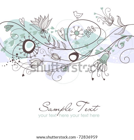 Blue floral seamless background - stock vector