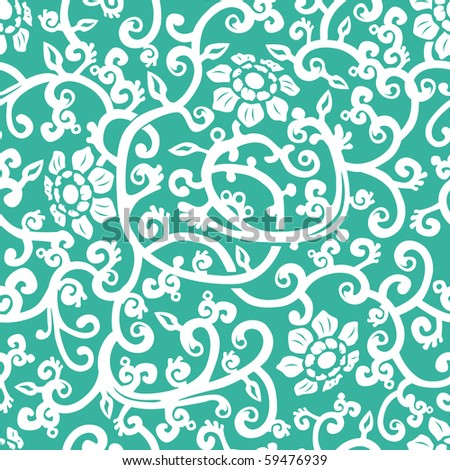 Blue floral seamless background. Vector illustration - stock vector