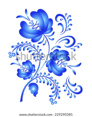 Blue floral vector ornate in gzhel style