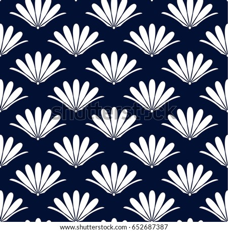 Blue Flower Seamless Pattern Chinese Vector