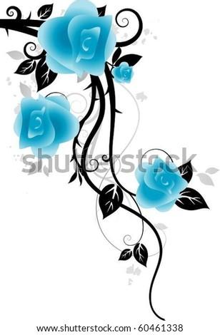 Blue flowers - stock vector