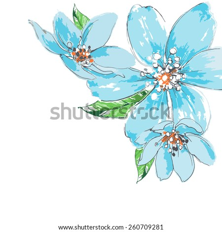Blue flowers background watercolor corner ornament - stock vector