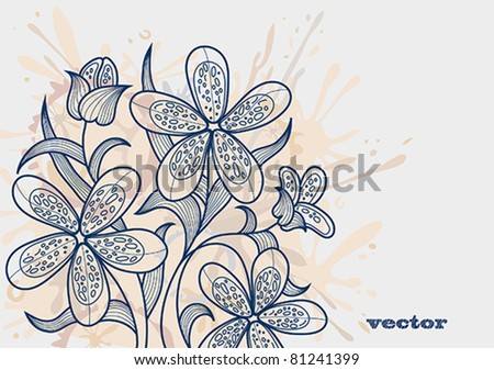 Blue flowers on a abstract background