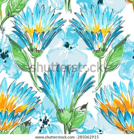 Blue flowers seamless pattern - stock vector