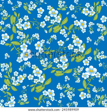 Blue flowers seamless pattern. Vector background for design  - stock vector