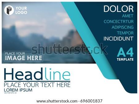 horizontal brochure design - blue flyer cover business brochure vector stock vector