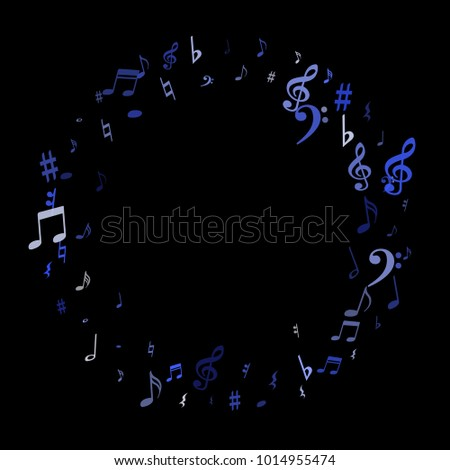 Blue Flying Musical Notes Frame Isolated Stock Vector 1014955474 ...