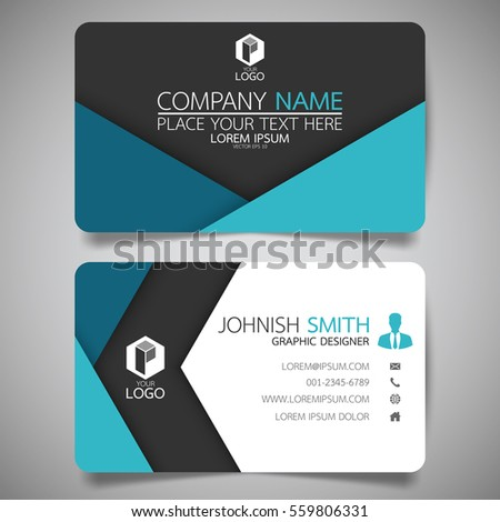 blue modern creative business card name stock vector 554171548