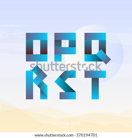 Blue fold ribbon alphabet. Uppercase O, P, Q, R, S, T letters. Gradient font. Business logo emblem design. - stock vector