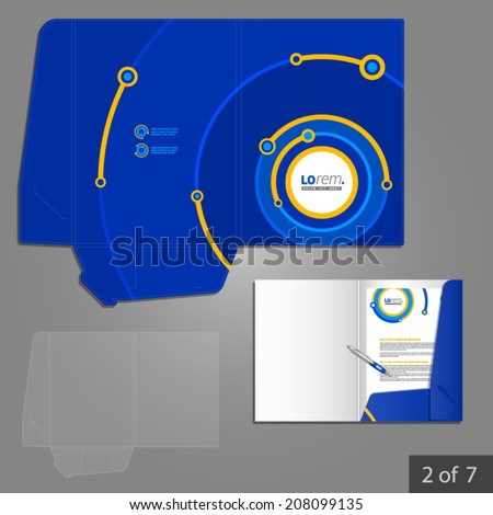 Blue folder template design for company with digital circles. Element of stationery. - stock vector