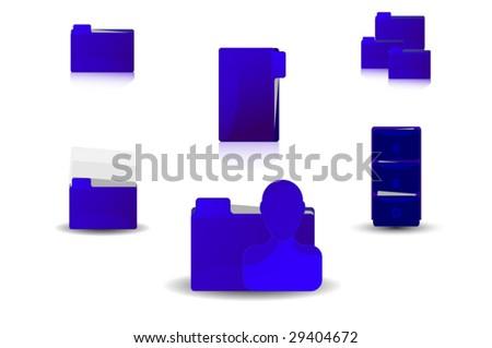 Blue Folders Pack - stock vector