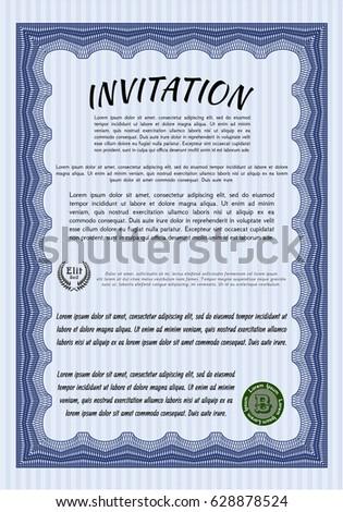 Blue Formal Invitation Elegant Design Complex Stock Vector