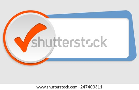 blue frame for text and check box - stock vector
