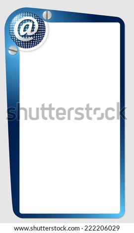 blue frame for text with grid and email icon - stock vector