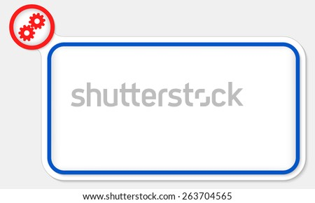 Blue frame for your text and cogwheels - stock vector