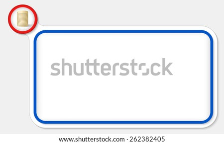 Blue frame for your text and coin - stock vector