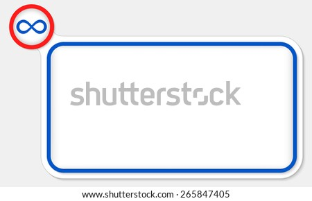 Blue frame for your text and infinity symbol - stock vector