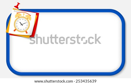 blue frame with pushpin and alarm clock - stock vector