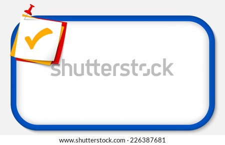 blue frame with pushpin and check box - stock vector