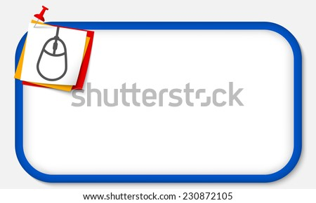 blue frame with pushpin and mouse icon - stock vector