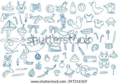 Blue Funny baby toys set. Vector doodle collection of hand drawn icons for baby shower or scrapbook - stock vector