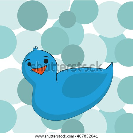 Blue funny cartoon duck on a bubble background. Vector. Rubber duck. Design for babies. - stock vector