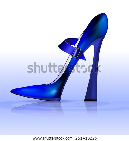 blue funny shoe - stock vector