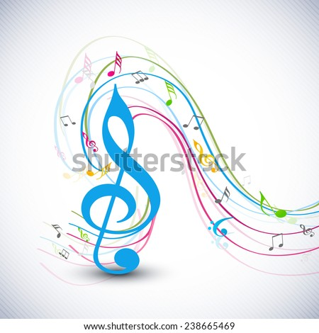 Blue g-clef with colorful musical notes wave on stylish background. - stock vector