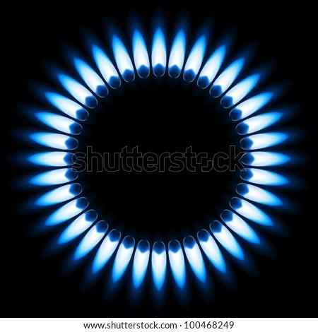 Blue Gas Flame. Illustration on black background - stock vector