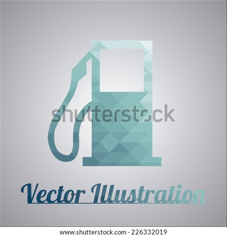 blue gas station over gray color background - stock vector