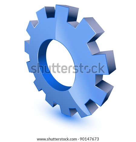 Blue gear wheel - stock vector