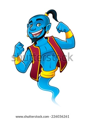 Blue genie being raised and clenched fist happily - stock vector