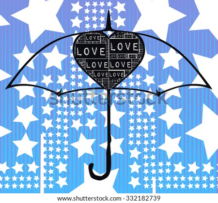 blue geometric lines with stars background together and black umbrella illustration vector print pattern. for fashion and graphic design. t shirt print, poster, valentines and special day print offer